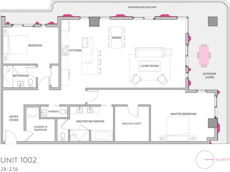 UNIT 1002 floor plan shows 2 bedroom luxury unit's floor plan
