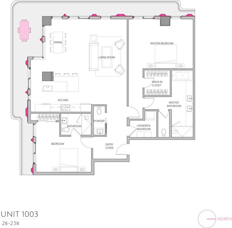 UNIT 1003 floor plan highlights this 2 bedroom luxury condominium's floor plan