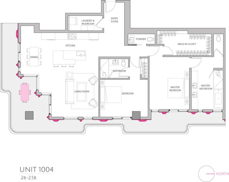 UNIT 1004 floor plan highlights this 2 bedroom luxury condo's floor plan