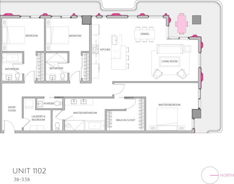 UNIT 1102 floor plan highlights this 3 bedroom unit's floor plan