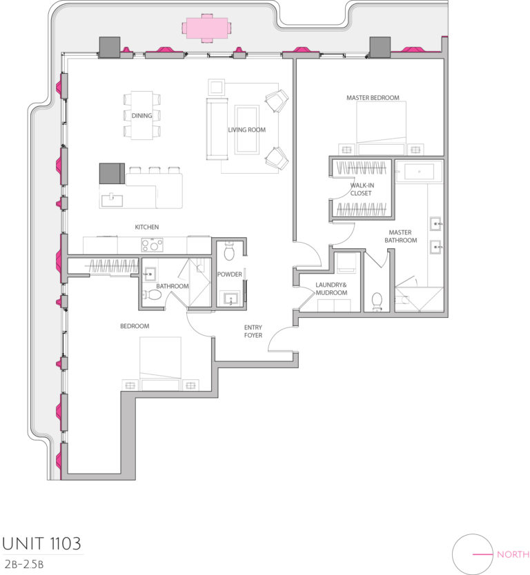 UNIT 1103 floor plan highlights this 2 bedroom unit's floor plan