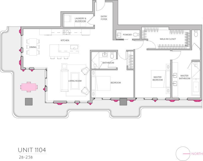 UNIT 1104 floor plan highlights this 2 bedroom unit's floor plan