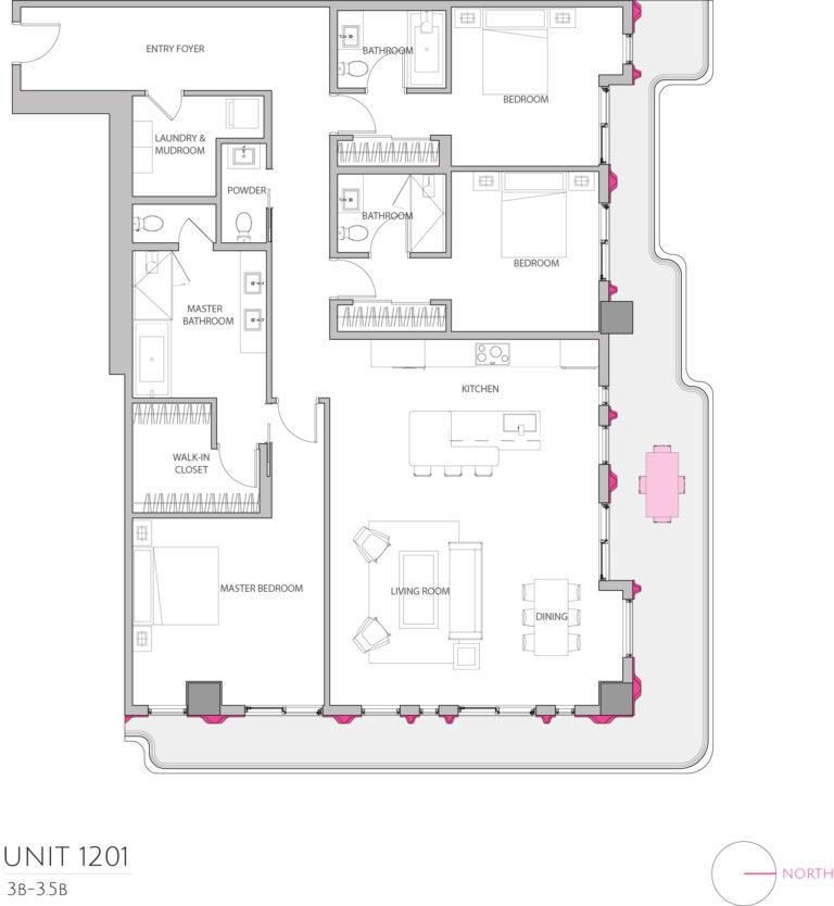 UNIT 1201 floor plan shows this 3 bedroom condos floor plan
