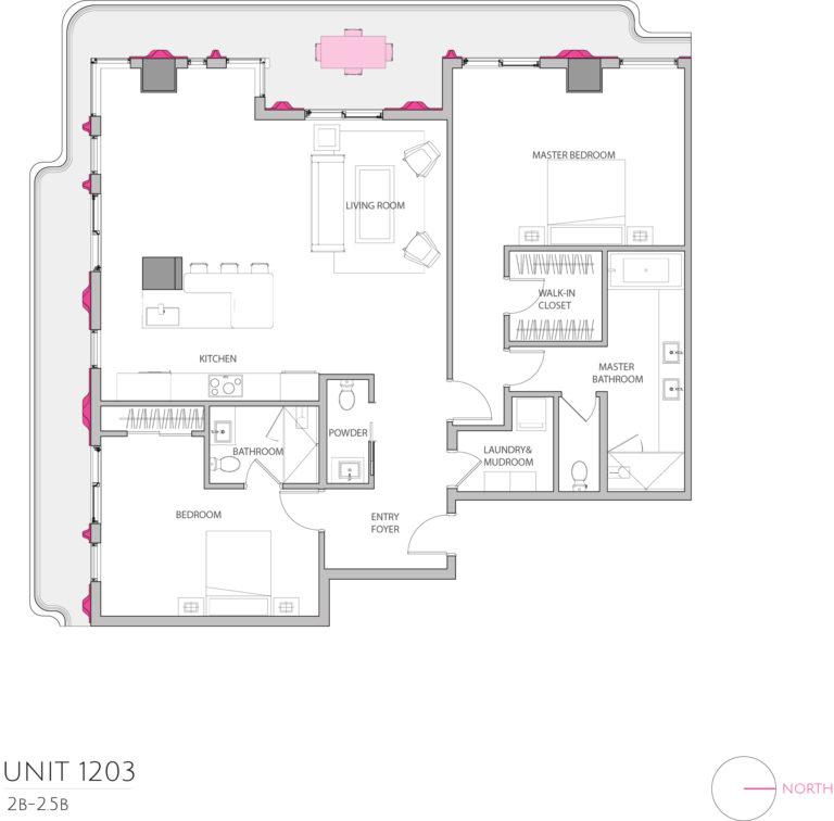 UNIT 1203 floor plan shows this 3 bedroom condos floor plan