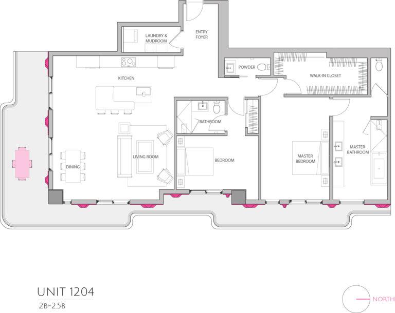 UNIT 1204 floor plan shows this 3 bedroom condos floor plan