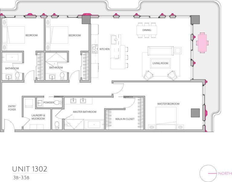 UNIT 1302 floor plan shows this 3 bedroom condominiums floor plan