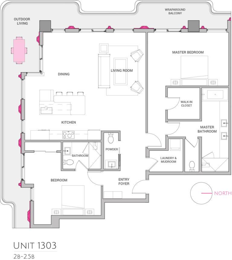 UNIT 1303 floor plan shows this 2bedroom condominiums floor plan
