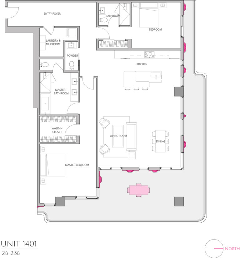 UNIT 1401 floor plan details the 2 bedroom luxury living condominiums floor plan