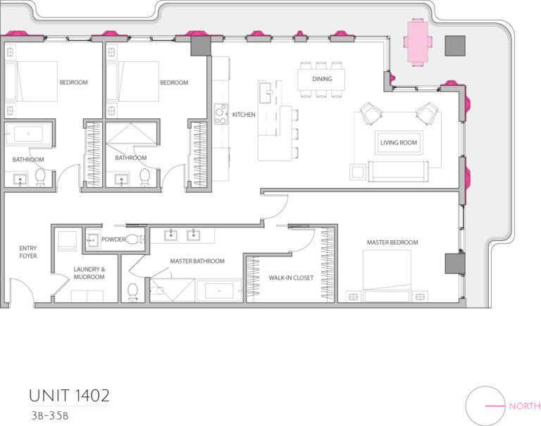 UNIT 1402 floor plan details the 3 bedroom luxury living condominiums floor plan