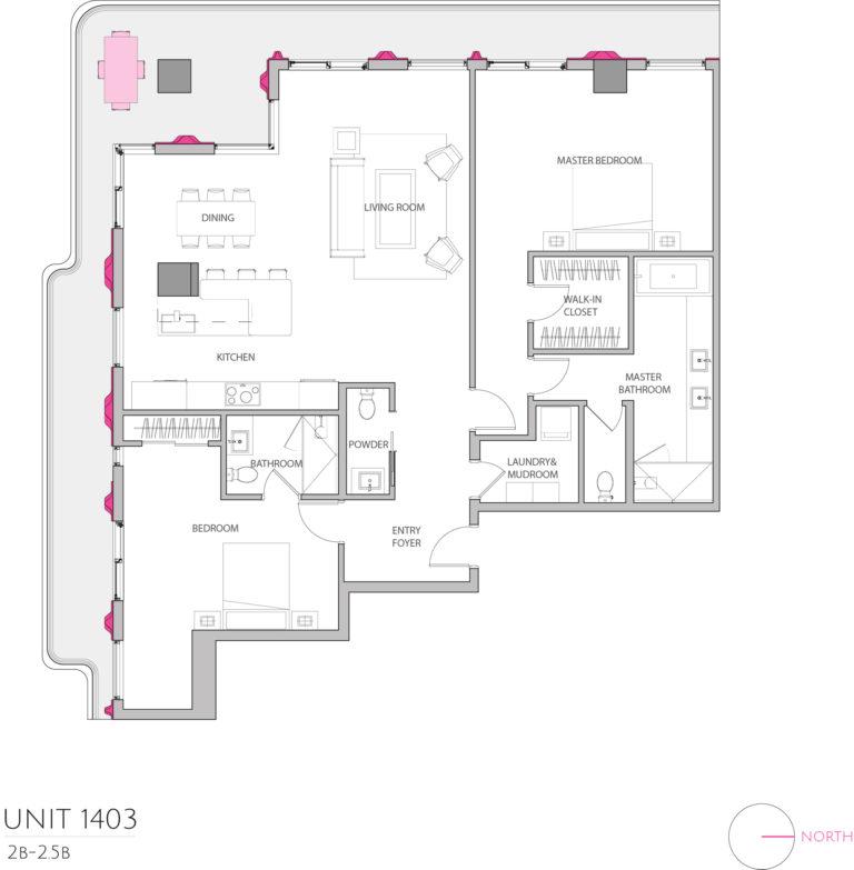 UNIT 1403 floor plan details the 2 bedroom luxury living condominiums floor plan
