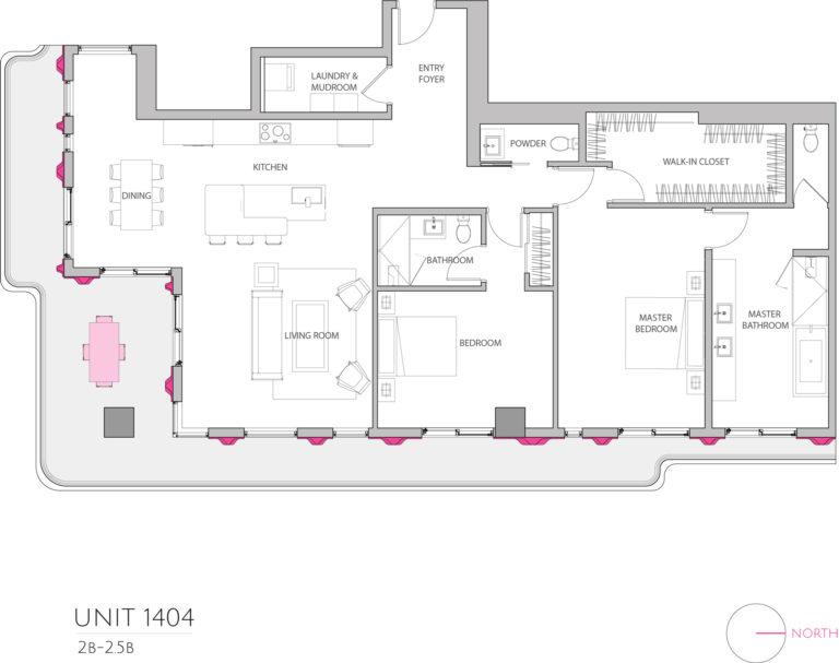 UNIT 1404 floor plan details the 2 bedroom luxury living condominiums floor plan