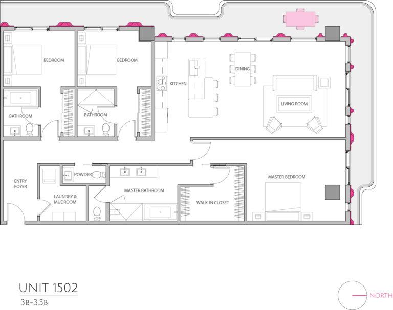 UNIT 1502 floor plan details the 3 bedroom luxury condominium's floor plan