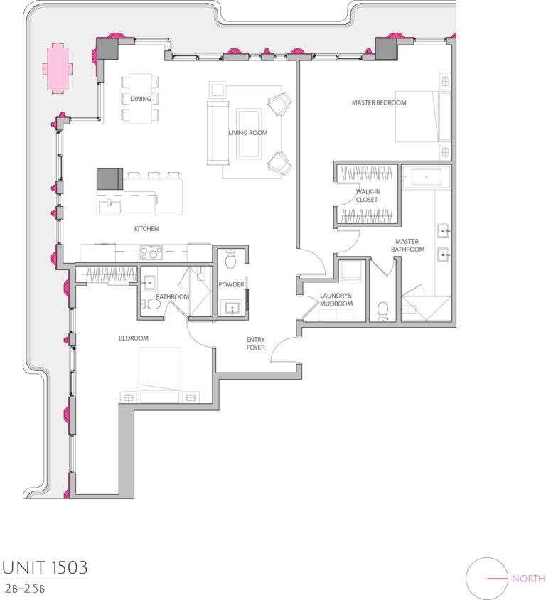 UNIT 1503 floor plan details the 2 bedroom luxury condominium's floor plan