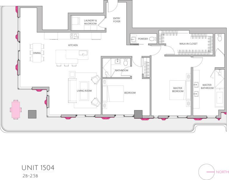UNIT 1504 floor plan details the 2 bedroom luxury condominium's floor plan