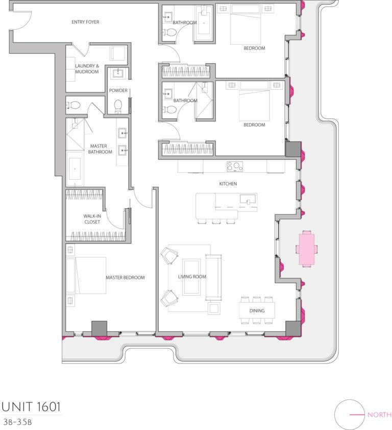UNIT 1601 floor plan highlights the 3 bedroom luxury condo apartment unit's floor plan
