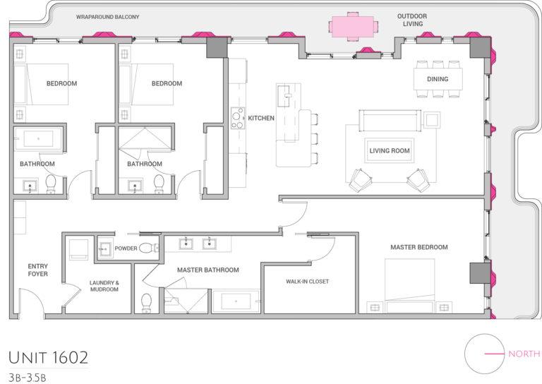 UNIT 1602 floor plan highlights the 3 bedroom luxury condo apartment residence's floor plan