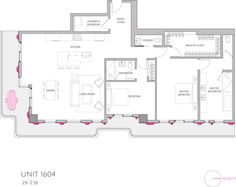 UNIT 1604 floor plan highlights the 2 bedroom luxury condo apartment unit's floor plan
