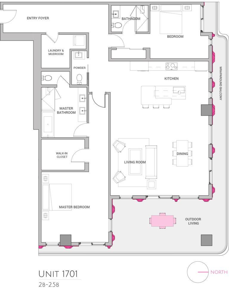 UNIT 1701 floor plan shows 2 bedroom luxury condominium unit's floor plan
