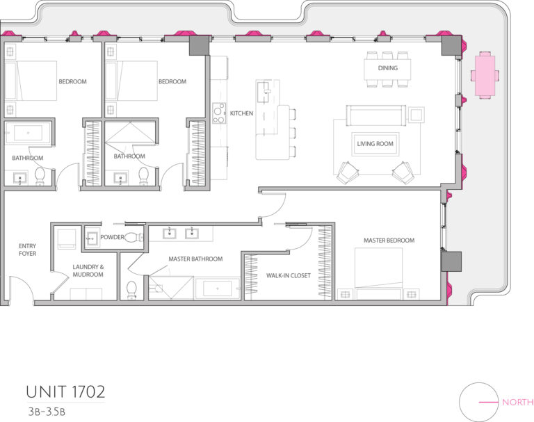 UNIT 1702 floor plan shows 3 bedroom luxury condominium residence's floor plan