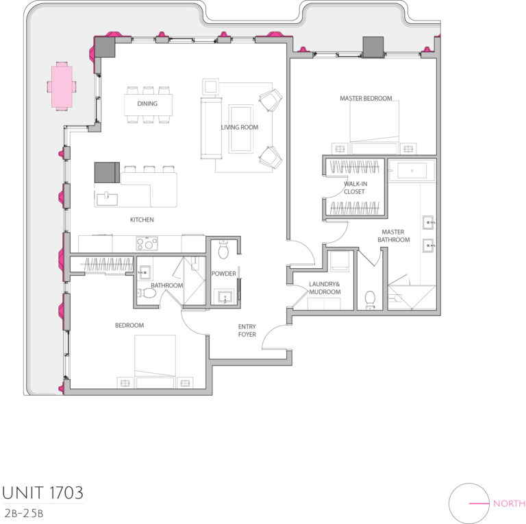 UNIT 1703 floor plan shows 2 bedroom luxury condominium unit's floor plan