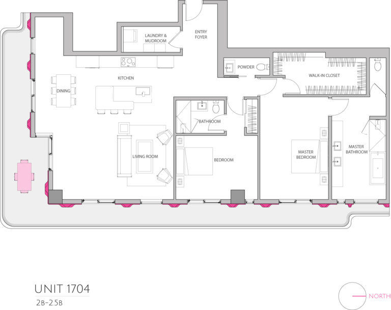 UNIT 1704 floor plan shows 2 bedroom luxury condominium unit's floor plan