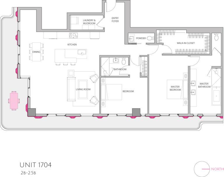UNIT 1704 floor plan shows 2 bedroom luxury condominium residence's floor plan