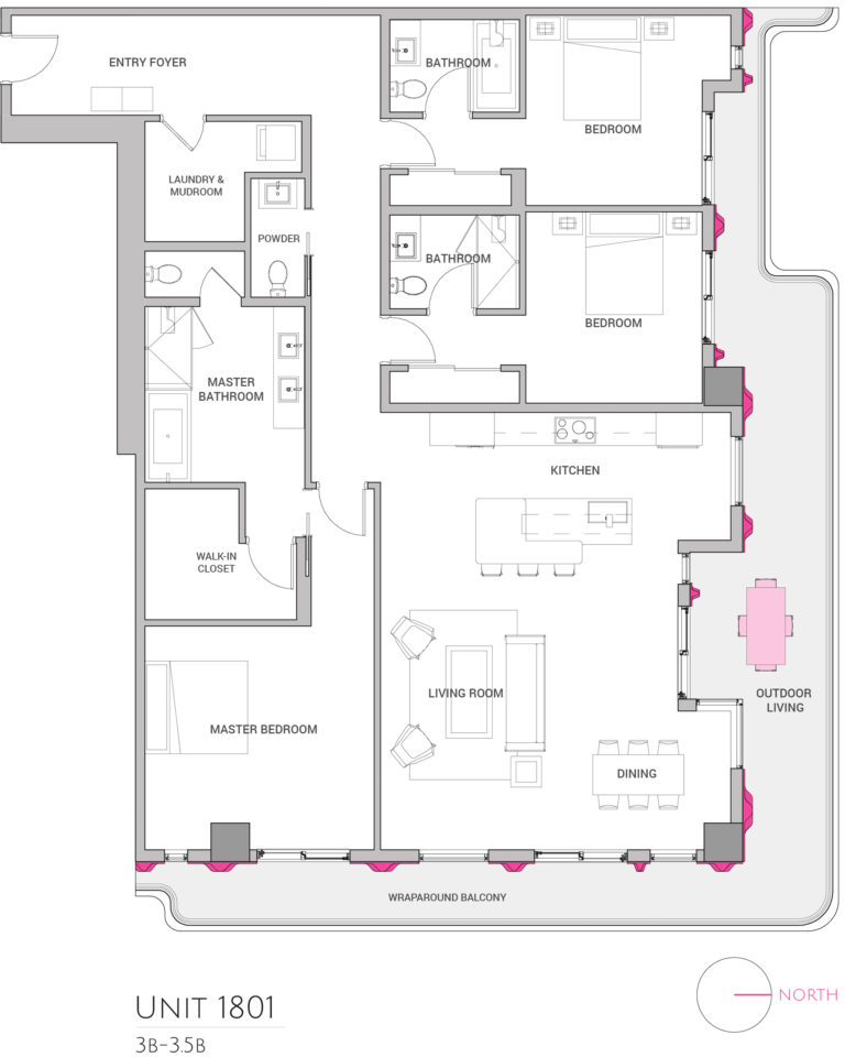 UNIT 1801 floor plan shows 3 bedroom luxury unit for purchasing