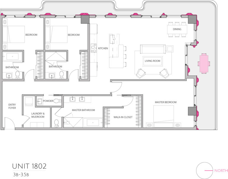 UNIT 1802 floor plan shows 3 bedroom luxury residence for purchasing