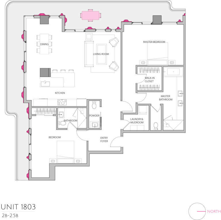 UNIT 1803 floor plan shows 2 bedroom luxury unit for purchasing