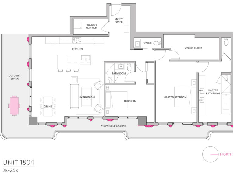 UNIT 1804 floor plan shows 2 bedroom luxury unit for purchasing