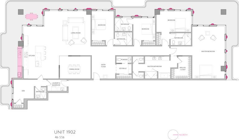 UNIT 1902 floor plan shows 4 bedroom luxury apartment's floor plan