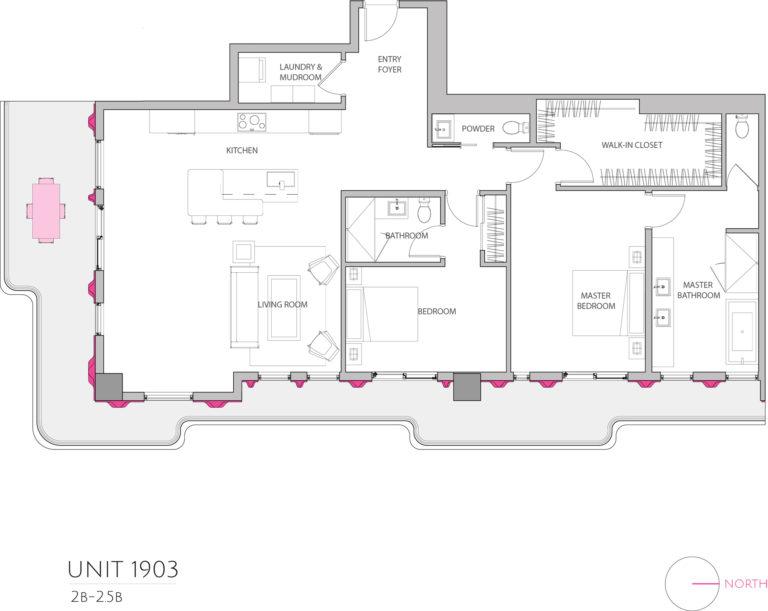 UNIT 1903 floor plan shows 2 bedroom luxury apartment's floor plan