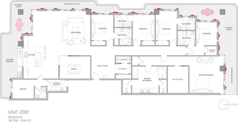 UNIT 2001 floor plan shows 5 bedroom luxury condo residence floor plan