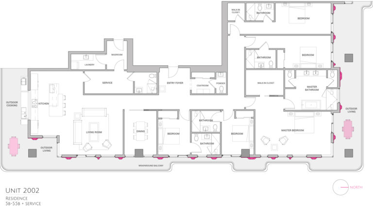UNIT 2002 floor plan shows 5 bedroom luxury condo residence floor plan