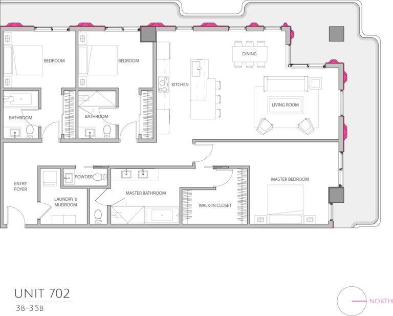 UNIT 702 floor plan details this luxury condo floor plan, condominium for sale in Miami Florida