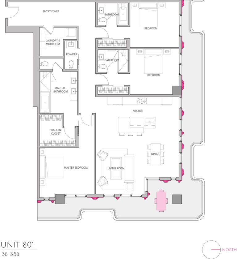 UNIT 801 floor plan details this luxury condominium's floor plan, apartment building's floor plan for potential buyers