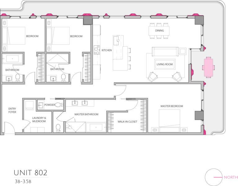 UNIT 802 floor plan details this luxury unit for sale in Miami Florida floor plan