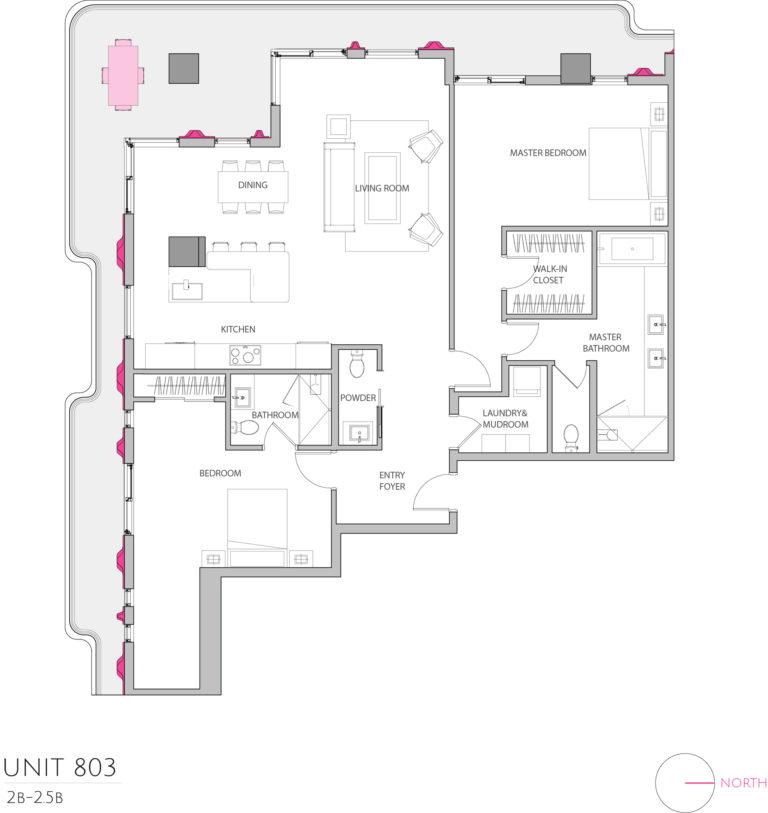 UNIT 803 floor plan details this luxury Condominium for sale in Miami floor plan