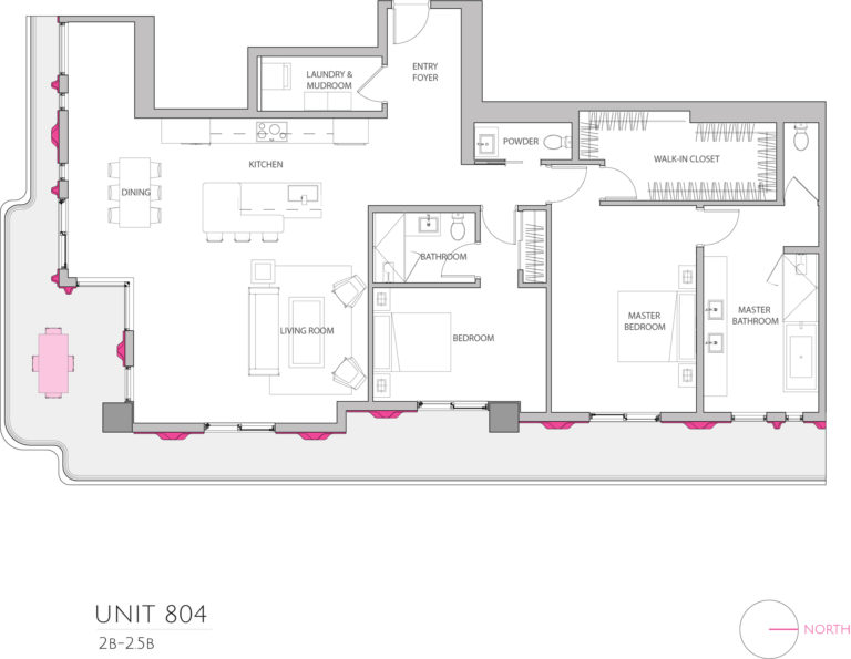 UNIT 804 floor plan details Miami's stunning luxury condo floor plan