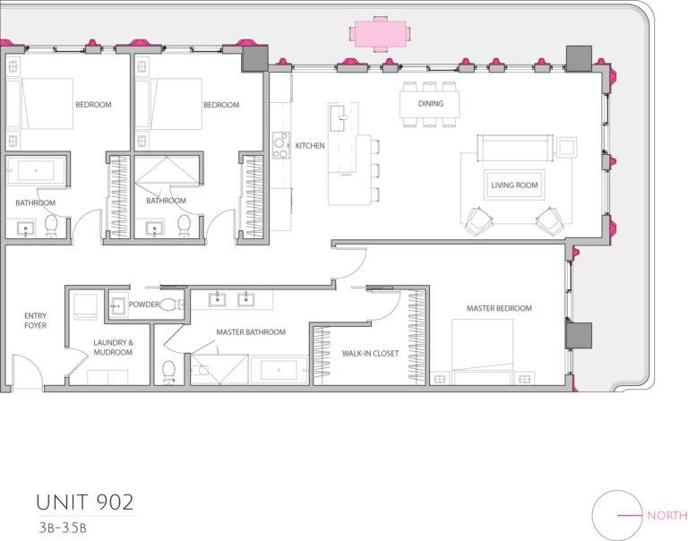 UNIT 902 floor plan details 3 bedroom condo floor plan, condominium for sale in Miami