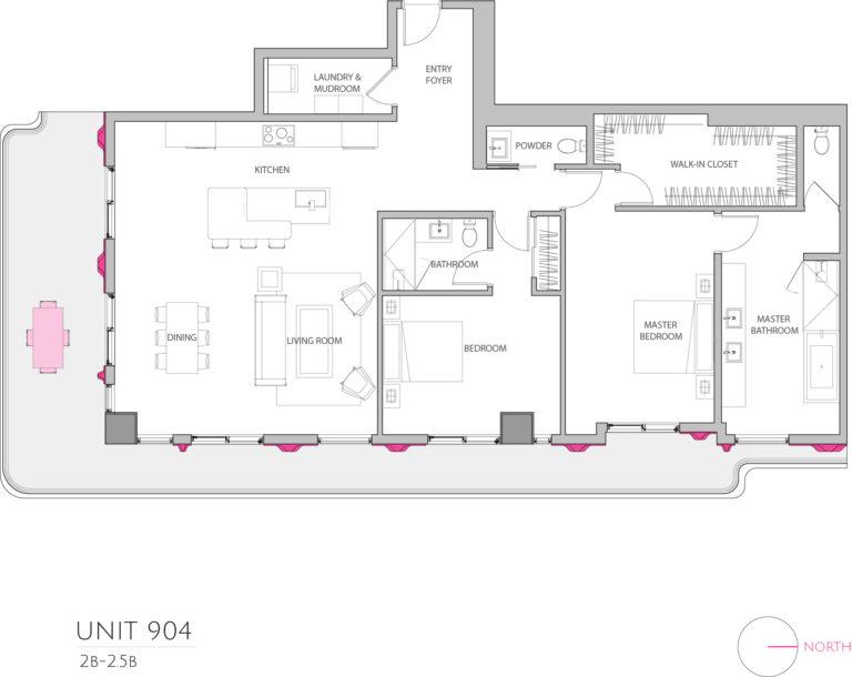 UNIT 904 floor plan shows 2 bedroom luxury condo unit's floor pl